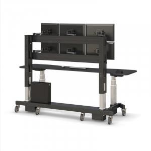 Стол-стойка видеонаблюдения (6 мониторов) с подъемным механизмом - купить по цене производителя