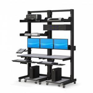 Компьютерная мобильная стойка с двумя компьютерами, корзиной Rack-mount